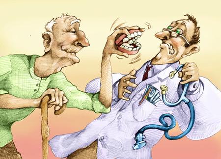 starsza przeraża lekarza ze swoim protez Zdjęcie Seryjne
