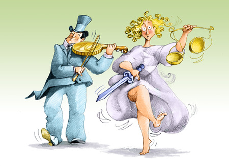 corrupt: a rich man plays a coin like a violin and a justice upset dance
