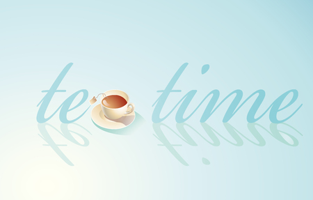 snack time: in vectorial cup of tea on a water background Illustration