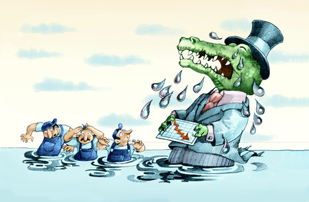pretense: rich with the muzzle crocodile and with a pattern of loss business in hand so many crying crocodile tears that engulfs workers