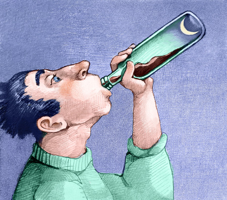 marginalized: an alcoholic empties a bottle and see the moon on the bottom Stock Photo