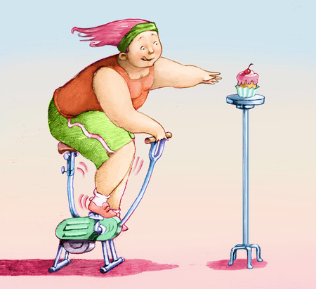 fats: a girl on the exercise bike chases a pastry Stock Photo