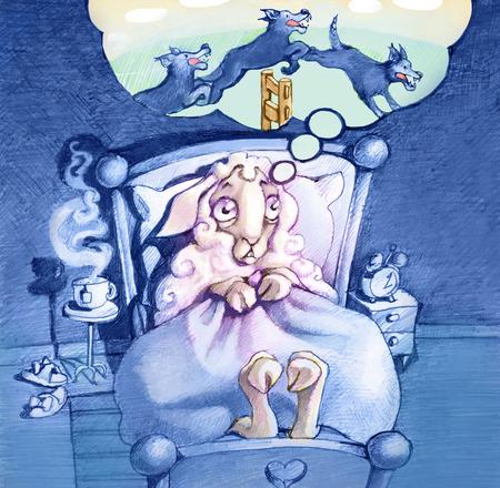"""pecora: una pecora non riesce a dormire perch� """"conta lupi"""" invece di pecore per prendere sonno"""
