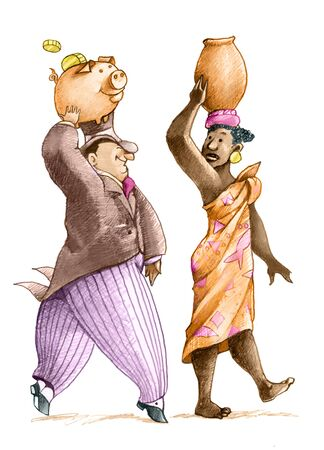 rich man: a rich man imitating a woman carrying a pitcher of water on the head, but he brings a piggy bank