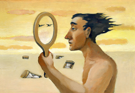 on mirrors: A man looking through an empty mirror and sees the landscape around him