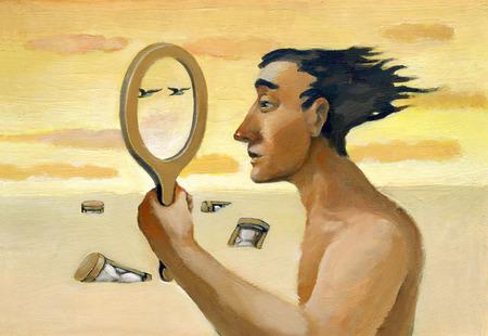 psique: Un hombre que mira a trav�s de un espejo vac�o y ve el paisaje que le rodea Foto de archivo