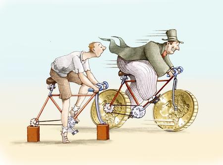 pobre: La moto tiene ricos grandes ruedas en forma de moneda, la moto tiene mala ladrillo en lugar de ruedas