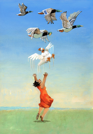 passing over: A girl tries to fly his feet along with the wild geese passing over them Stock Photo