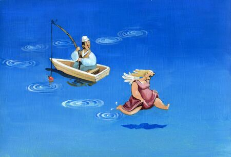 transference: The fisherman in the boat watching his guardian angel that jumps around on the water