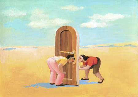 existentialism: a man and a woman in the desert they look through a keyhole
