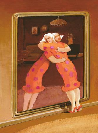 een vrouw omhelst haar beeld in de spiegel Stockfoto