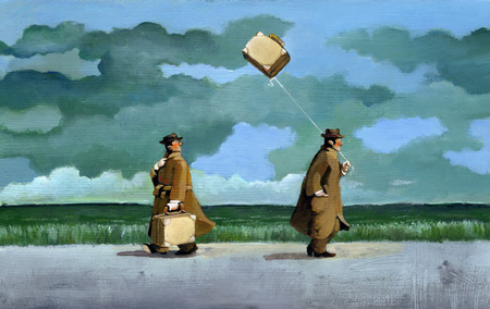but: two men walking in the countryside on a rainy day, hanne both a suitcase, but one of them is light and flies like a kite Stock Photo