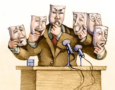 lider: un político habla al público con un conjunto de máscaras Foto de archivo