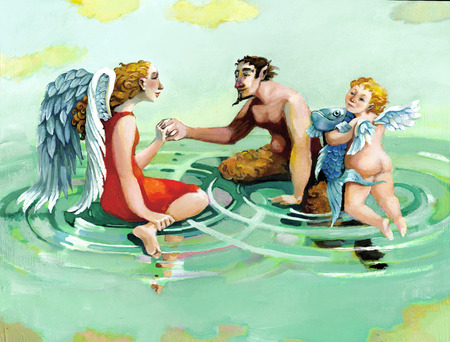 An angel, a cherub and a faun floating in a sky forming circles of water