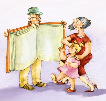 piernas mujer: Un hombre abre su capa como un loco, en realidad UYN libro abierto, en domnna cubre los ojos de un niño