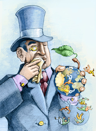 injustice: a financier eating an apple that is a world and the people who live above fall Stock Photo