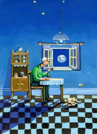 a man by the window of the house toasts to the moon