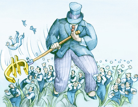 impotence: a wealthy businessman mows redundant workers with the symbol of the euro