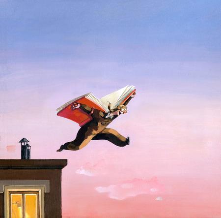 un aviador salta de un tejado utilizando un libro como avión