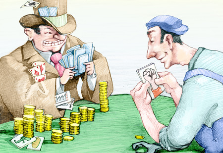 szantaż: A banker with many plays cards against a worker who holds only the card of protest Zdjęcie Seryjne