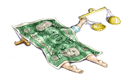 denunciation: Justice is dead, covered with a sheet that is a banknote Stock Photo