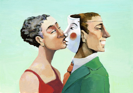 betrayal: a woman kissing a mask instead of the man who has turned