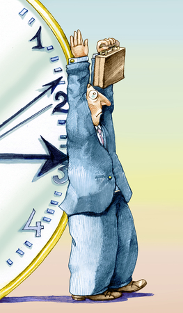 alienation: An employee has his hands up in surrender when the hand of a clock is pointed back as a weapon Stock Photo
