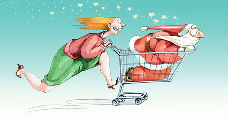 pushes: A woman excited fast pushes a cart in a Santa Claus with a little scared by the speed