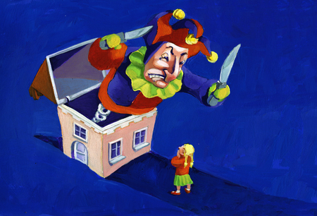 jack in a box: in the night a huge jack in the box comes out of a house and scare a little girl