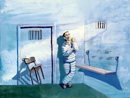 exaggeration: a prisoner lock the cell door with a chair to be alone