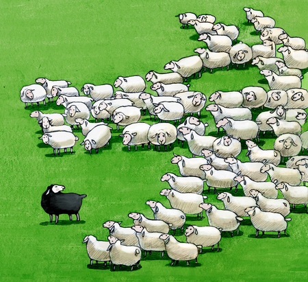 outsider: a flock that seen from above form a wolf who wants to eat the black sheep Stock Photo