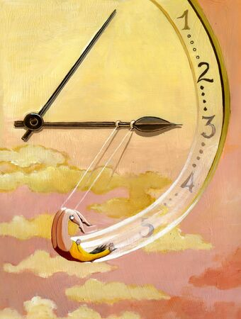 trapeze: a trapeze hanging from the hands draws a clock in the sunset