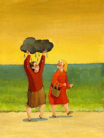 walk: Two women walk in the countryside under the sun, a woman carries a black cloud over his head to make it rain on itself Stock Photo