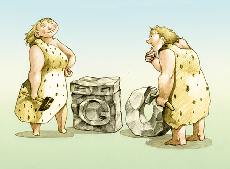 prehistoric man: prehistoric man invented the wheel, she invented the washing machine
