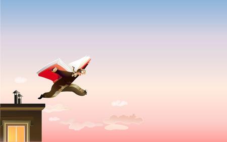 mente: Un hombre salta de la azotea utilizando un libro como alas