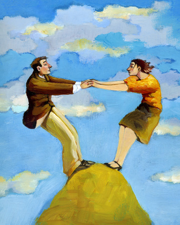 la union hace la fuerza: a man and a woman is able to stand on top of a mountain only if they collaborate