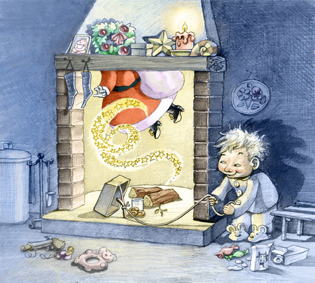 satire: a child with mischievous air waiting at night Santa Claus coming down the chimney to capture him