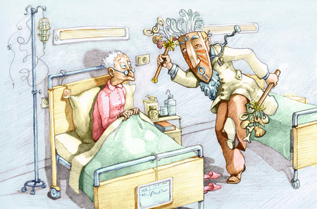 satire: An old woman in a hospital bed watching with wide eyes dressed as a witch doctor dancing