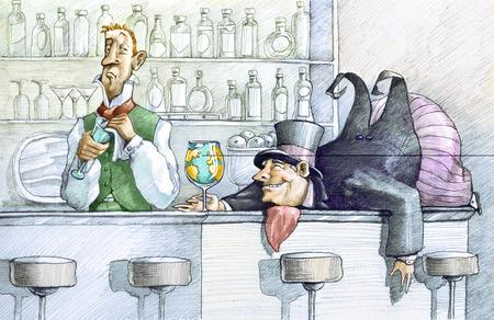 borracho: un hombre gordo borracho codiciosos acostado en una barra de bar que sostiene un globo de cristal, el camarero lo mira con suficiente indisimulada