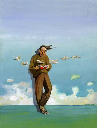 fantasy book: a man reading a book while leaning against the sky a flock of birds flying in front of him