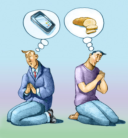 satire: two men stylized different walks of life together to kneel and pray,  one dressed in suits dreams a smartphone, one dressed so pi� modest dreams just bread different from each other for social background kneel and pray, one dressed in suits dreams a smart