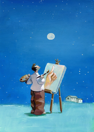 anticipate: a painter looks at the moon and paints the finger pointing you