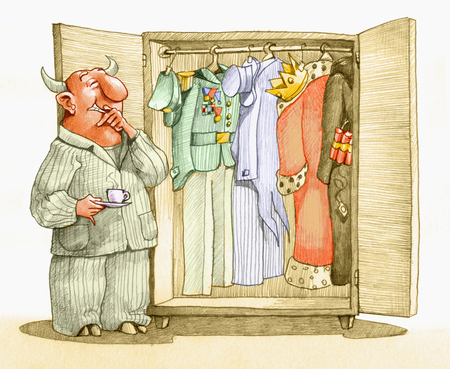 to decide: a devil looks in her wardrobe to decide whether to dress up as rich, military, king or terrorist Stock Photo