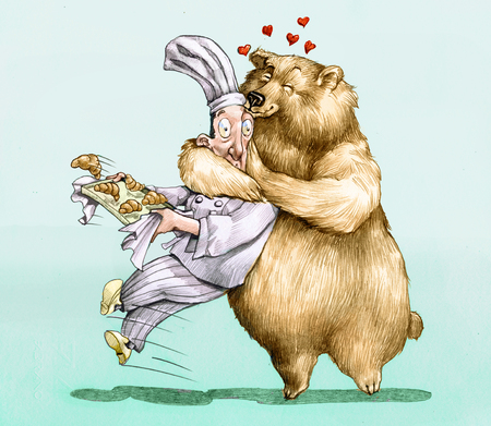 sweet pastry: a bear falls for a load of sweet pastry and wraps him in a hug
