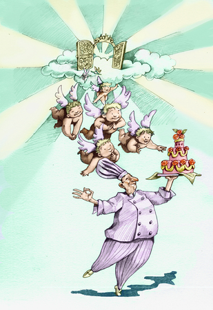 diet cartoon: Walking like a chef carrying a trophy cake floors and a group of angels left heaven to follow him