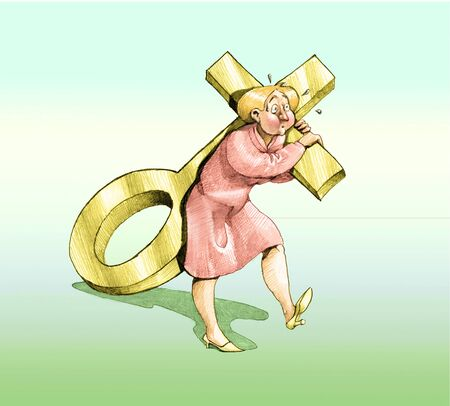 satire: a woman dragging the symbol of the woman like a cross