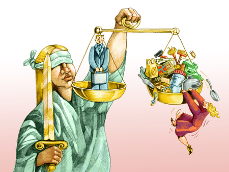 justice for all: on the scale of justice, the man in the middle of the plate, the woman has no place in his flat for all the objects of his daily care of home and family