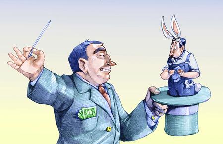 la union hace la fuerza: empresario tira de conejo del sombrero trabajador d�bil y temeroso