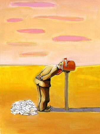 archetype: a man does not see the post because he has his head in the mailbox