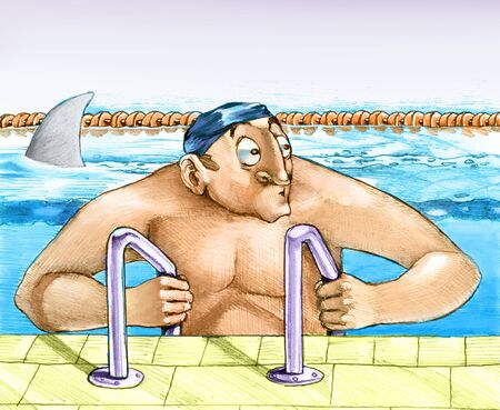 fear: a swimmer enters puzzled by the pool wondering whether it is really spent a shark in such a safe place